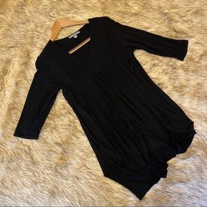 Black V Neck 3/4 Length Sleeve Tunic Shirt